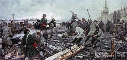 Картина «Петр I на строительстве Санкт-Петербурга». © РИА «Новости» / Леонид Зиверт