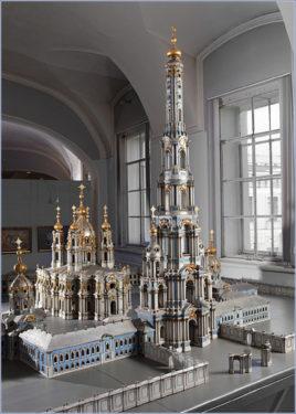 Изначальный макет колокольни Растрелли в музее, расположенном в здании Петербургской Академии художеств. © Научно-исследовательский музей Российской Академии художеств