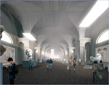 В двух величественных залах северных галерей Конюшенного Ведомства устраиваются экспозиционные пространства. Размеры и высота залов позволяют устраивать выставки больших живописных полотен и скульптур. Раскрываются и реставрируются исторические кирпичные полы, своды и аркады.